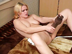 Kinky Russian bitch Ksusha prefers to polish her twat with a dildo