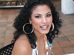 Curly latina Kimberly with nice makeup picked up