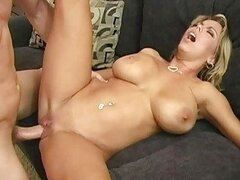 Sexy busty blonde milf doing blowjob and getting her wet pussy fucked good