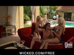 Two blonde bombshells get horny & start HOT pool side threesome