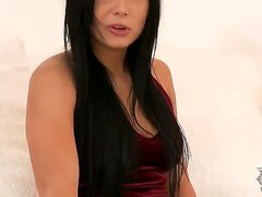 Attractive seductive gorgeous hottie Victoria Blaze with long black hair and long sexy legs on arousing pantyhose and stunning red dress gets naughty and teases in living room
