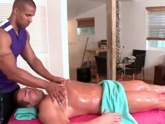 Handsome gay massaging a straight dude