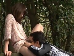 Extremely Horny Asian Gets Her Pussy Licked and Fucked Outdoors