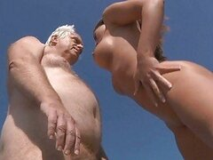 Horny older man bang big breasted babe outdoors