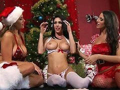 Lesbian Pornstars Strip To Their Lingerie To Have a Christmas Foursome
