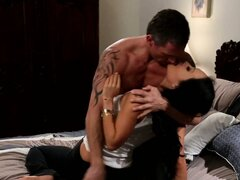 Asa Akira makes out with a horny dude, and after having her pussy licked she gets down to suck his cock