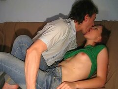 An amateur couple film themselves shagging for the very first time in their room