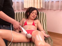 Masturbating Rika Miyashita's Pussy with Vibrator in Her Red Bikini