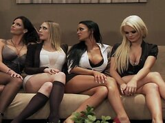 Four Hot big boob office sluts fuck boss big dick...