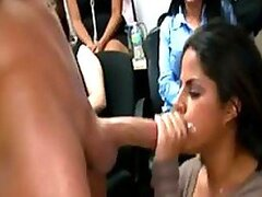 Sexy Latin Babe Gives a Blowjob and Gets a Facial in a Hot Office Party