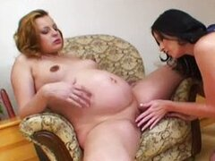 Horny pregnant lesbian play with girlfriend
