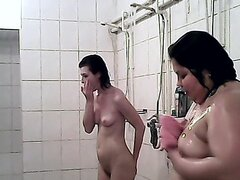 Hot shower voyeur video with chubby babes