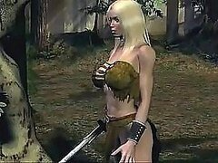 Animated Blonde Babe With Her Sword