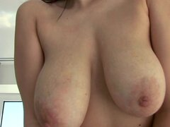 Bosomy brunette Lea shows off her big tits and gets her vag drilled