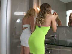 Two Stunning Blonde Girls Going Lesbian in the Bathroom