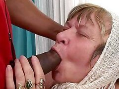 Very old grandma sucks a huge monster cock and gets banged