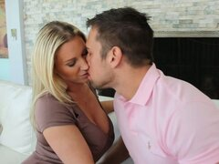 Torrid blonde MILF Devon Lee gets her muff polished and blows dick
