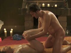 Horny gay massage session