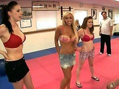 Three hot babes come to kung fu fighting club for hot banging