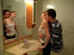 Horny teen lovers hot fucking in the bathroom