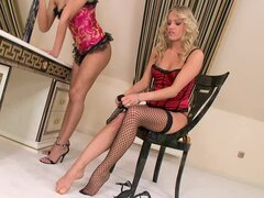 Hot lesbian couple in the glamour room