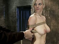 Tutorial and instructions of rope bondage on sexy big tit girl