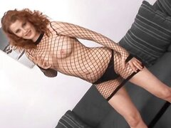 Redhead in fishnets gets a cock of each color and bets all holes drilled with a DP