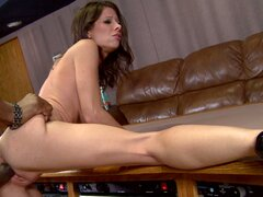 Skinny brunette bitch tits manages to suck BBC
