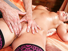 The luckiest motherfucker is showing his new massage techniques to hot stuff Cindy. He knows he has a good chance to pound her pussy so he gets her horny by oiling up and massaging her perfect tits until she asks for a vaginal massage. He finally gets wha