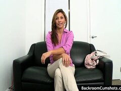 Hot next door with big tits takes a cock deep in her pussy at audition.