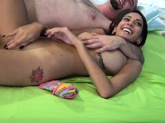 Janice Griffith opens her long slim legs for a horny bearded guy