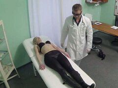 Pretty hot blonde patient sucks and rides on doctors cock