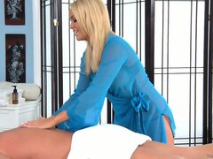 The blonde massage therapist has a marvelous body and is yearning for a big cock