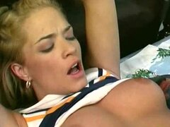 Guys fuck the cheerleader and cum inside her
