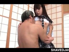 Japanese school nymph taking masters shaft in her shaved muff