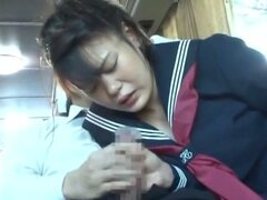 Asian schoolgirl sucking it on public bus