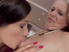 Horny Granny Got Fucked by a Beautiful Lesbian Teen s Strapon Dildo