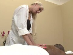 Cute nurse Giselle Monet is getting black dong in her meat hole