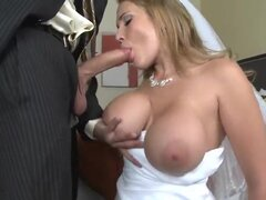 Her groom is absolutely drunk! However sexy bride Alanah Rae does no want to spoil te moment of the wedding night and enjoys the huge cock of the groom's best friend Voodoo! This is the hottest wedding cheating orgy!