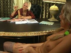 Lesbian strap on fuck time in the office