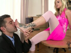 Dazzling blonde seduces a young stud and puts her awesome footjob skills on display