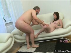 The old man fucks Maria's tight snatch while she sucks a young stud's dick