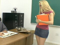 A nerdy blonde babe will do anything to pass her classes, even ride the teacher