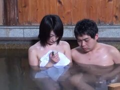 Erotic bathhouse orgy with amateur Japanese woman