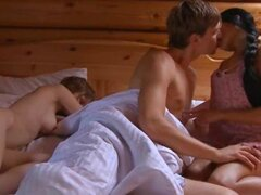 Awesome threesome party in cottage