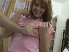 Petite amateur bimbo gets flirty before the action kicks off