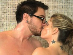 Slutty, busty blonde mom showers with young cock and blows it