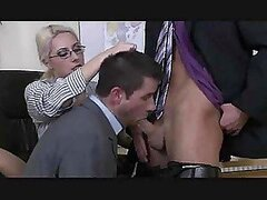 A crazy threesome ensues in an office with guys sucking each other off and a chick getting involved