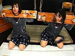 Ryo Tsujimoto bondage and covered in sperm in this bukkake video