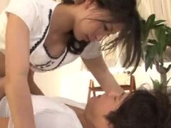 Orgasm loving Asian bitch sits on her man's member